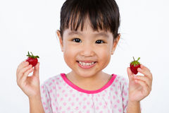 Asian Little Chinese Girl Holding Strawberry Stock Photos