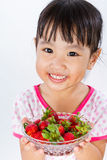 Asian Little Chinese Girl Holding Strawberry Stock Images