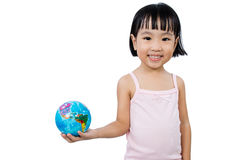 Asian Little Chinese Girl Holding a World Globe Royalty Free Stock Photo