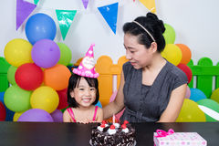 Asian Little Chinese Girl and Mother Celebrating Birthday Royalty Free Stock Photos