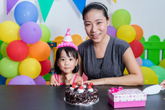 Asian Little Chinese Girl and Mother Celebrating Birthday Royalty Free Stock Photography