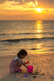 Asian Little Chinese Girl Playing with Beach Toys Royalty Free Stock Image