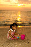 Asian Little Chinese Girl Playing with Beach Toys Stock Photography