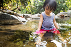 Asian Little Chinese Girl Playing in Creek Royalty Free Stock Image