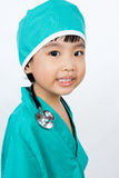 Asian Little Chinese Girl Playing a Doctor with Stethoscope Royalty Free Stock Image