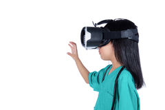 Asian Little Chinese Girl playing doctor with VR goggles Stock Images