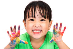 Asian Little Chinese Girl Playing and Painting Stock Images
