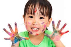 Asian Little Chinese Girl Playing and Painting Royalty Free Stock Image