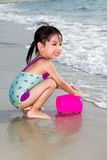 Asian Little Chinese Girl Playing Sand with Beach Toys Royalty Free Stock Photos