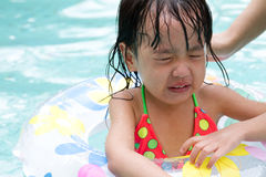 Asian Little Chinese Girl Playing in Swimming Pool Royalty Free Stock Image