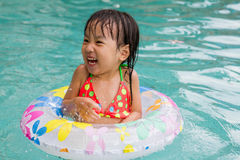 Asian Little Chinese Girl Playing in Swimming Pool Stock Image