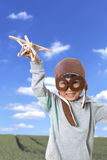 Asian Little Chinese Girl Playing with Toy Airplane Stock Images