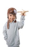 Asian Little Chinese Girl Playing with Toy Airplane Stock Photos