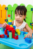 Asian Little Chinese Girl Playing Wooden Blocks Stock Photos