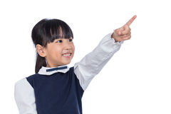 Asian Little Chinese Girl pointing with finger Royalty Free Stock Image