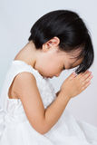 Asian Little Chinese Girl Praying. In isolated White Background Stock Photography