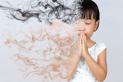 Asian Little Chinese Girl Praying Stock Photography