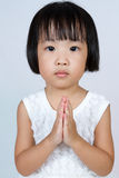 Asian Little Chinese Girl Praying Royalty Free Stock Photo