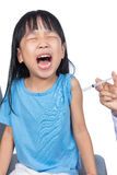 Asian little Chinese girl receiving an injection Royalty Free Stock Photos