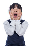 Asian Little Chinese Girl screaming with hands on her face Royalty Free Stock Images