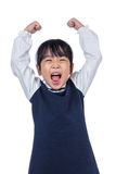 Asian Little Chinese Girl shouting with hands up Royalty Free Stock Photography