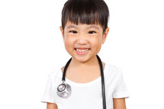 Asian Little Chinese Girl With a Stethoscope Royalty Free Stock Images