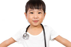 Asian Little Chinese Girl With a Stethoscope Stock Photography