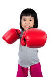 Asian Little Chinese Girl Wearing Boxing Glove With Fierce Expre Stock Images