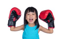 Asian Little Chinese Girl Wearing Boxing Glove with Hands Up Stock Photography