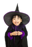 Asian Little Chinese Girl Wearing Halloween Costume. Isolated on White Background Royalty Free Stock Image