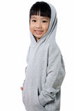Asian Little Chinese Girl Wearing a Hoodie Stock Image