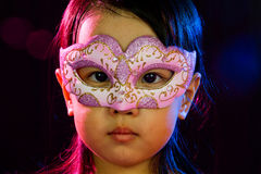 Asian Little Chinese Girl Wearing Mask Stock Photography