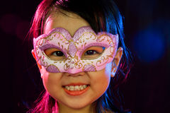 Asian Little Chinese Girl Wearing Mask Royalty Free Stock Photos