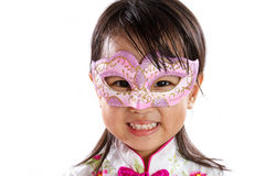Asian Little Chinese Girl Wearing Mask. Isolated on White Bakground Stock Images