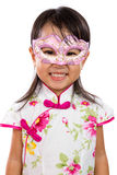 Asian Little Chinese Girl Wearing Mask. Isolated on White Bakground Royalty Free Stock Images