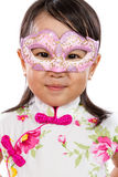 Asian Little Chinese Girl Wearing Mask Stock Photos