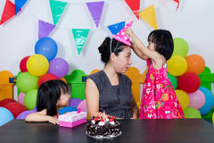 Asian Little Chinese Girls and Mother Celebrating Birthday Royalty Free Stock Photos