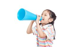 Asian little girl  announce by megaphone. Asian little girl  annouce by megaphone  isolated on white background Stock Image