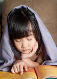 Asian little girl be asleep under blanket Royalty Free Stock Image