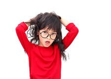 Confuse girl royalty free stock images