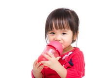 Asian little girl drink water Stock Photo