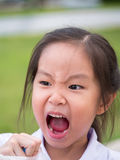 Asian little girl feel angry Royalty Free Stock Images