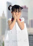asian little girl get lost with parent information Royalty Free Stock Photos