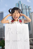 Asian little girl get lost with parent information contact Stock Images