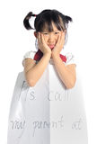 Asian little girl get lost with parent information contact Stock Photos