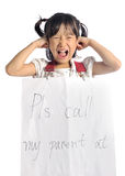 Asian little girl get lost with parent information contact Royalty Free Stock Photography