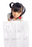 Asian little girl get lost with parent information contact Stock Photo