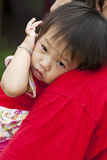 Asian little girl in green Lawn Royalty Free Stock Photography
