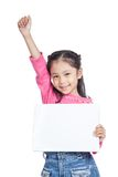 Asian little girl hold a blank sign fist up with s Royalty Free Stock Photography