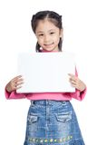 Asian little girl hold a blank sign and smile Royalty Free Stock Images